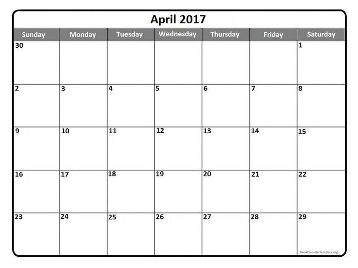 April 2017  printable calendar template