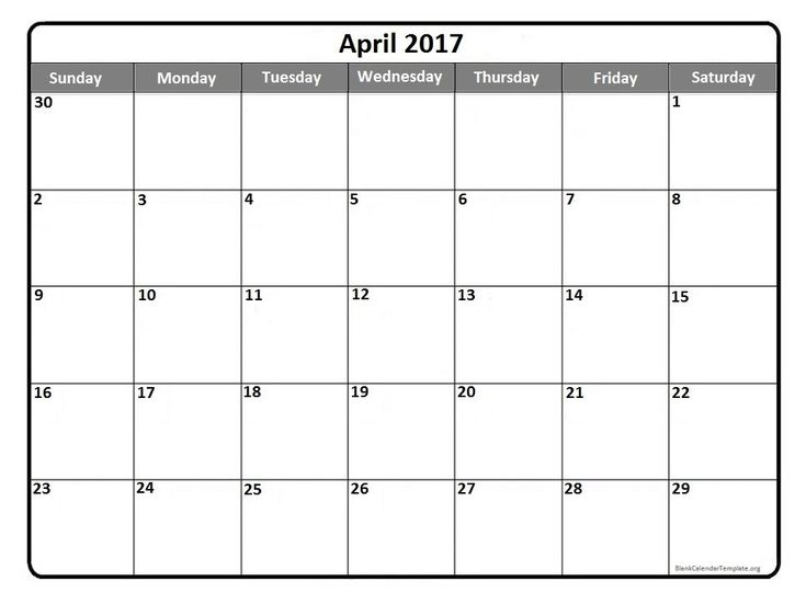 April 2017  printable calendar template