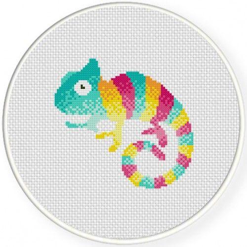 Cute Chameleon Cross Stitch Illustration