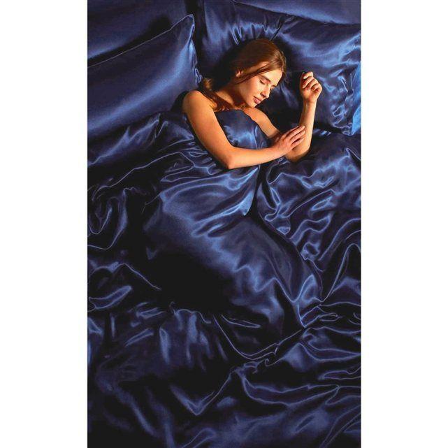 Parure de lit satin bleu nuit 6 pcs 220 x 240 cm lit 140 cm