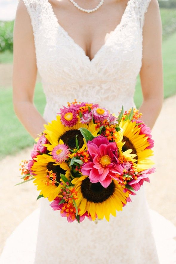 Sunflower Themed Wedding Bouquet www.tablescapesbydesign.com https://www.facebook.com/pages/Tablescapes-By-Design/129811416695