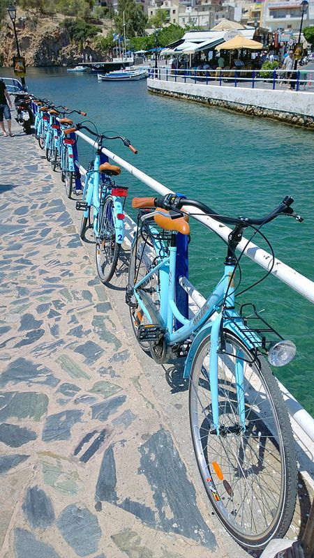 Our Blue bikes in the city of Agios Nikolaos Crete!