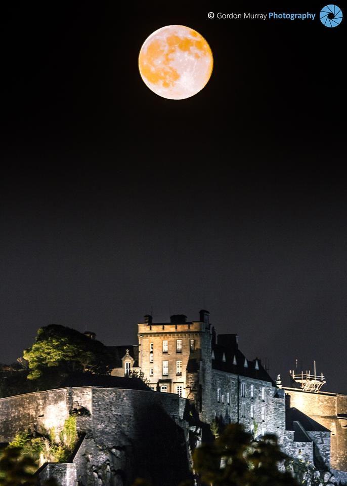 Full Moon above Edinburgh Castle, Scotland.