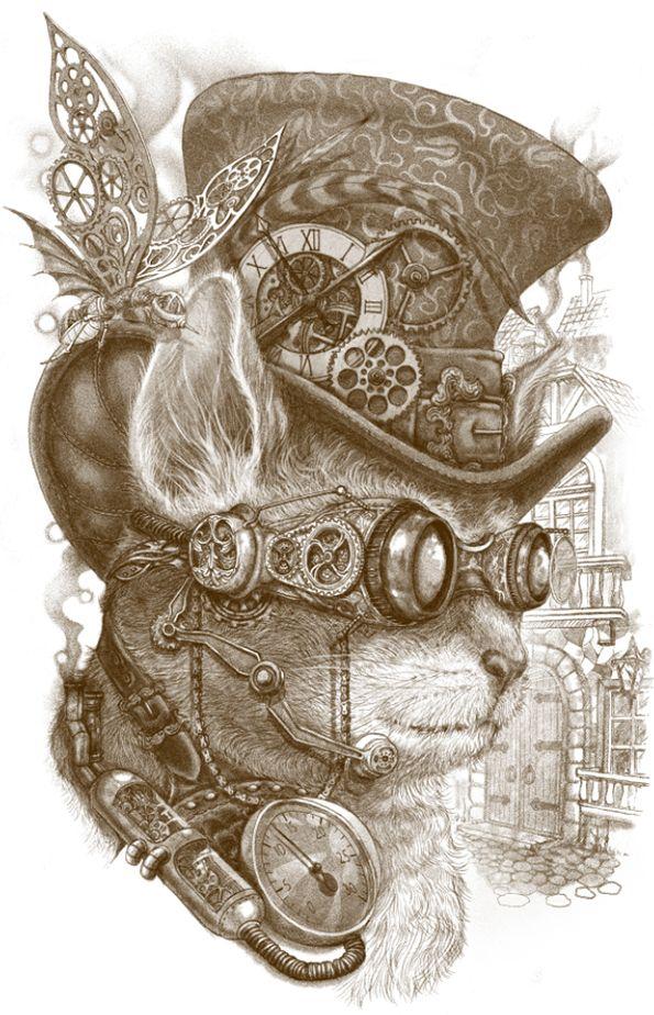 The Observer by Winardi Steampunk cat: D