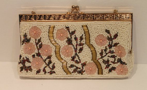 Vintage Beaded Handbag  Floral Beaded Purse  by FunkieFrocks. FunkieFrocks on etsy. Coupon code SPRING17 for 20% off.