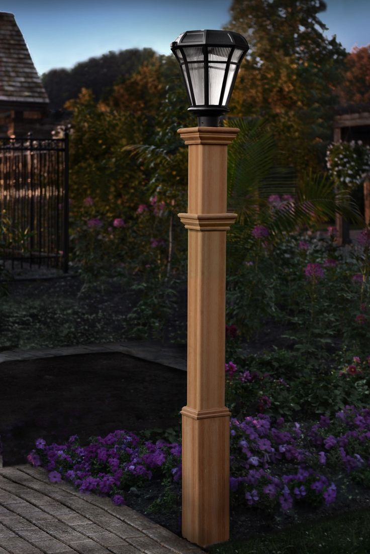 Wood outdoor lamp post - Impressive New England Arbor Burton Cedar Composite Lamp Post Product Photo