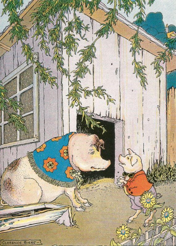 Vintage Kinder boek moeder baby varken Knorretje door BigGDesigns