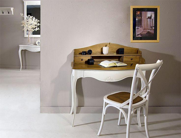 Mesa de Escritorio Vintage Frances   Material: Madera Tropical   Mueble realizado en Paris,Escritorio,Acabado,bicolor,blanco,Silla,Fondo,Mesa... Desde Eur:365 / $485.45
