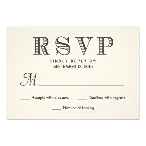 Typography Wedding RSVP RSVP Rustic Typography Ivory White Wedding Reply Card