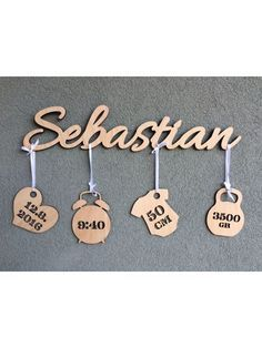 Photo of Gift for newborn – name with birth measurements size approx. 60 x 20 cm single …