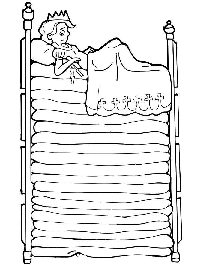 "Princess and the pea coloring page - Writing prompt idea ""Give the princess advice for a good night's sleep."""