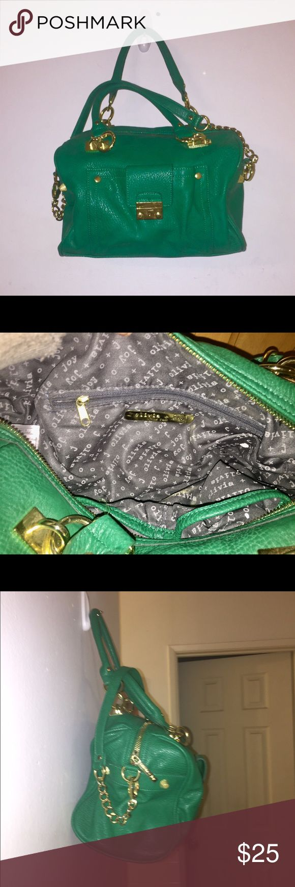 Olivia + Joy Green Handbag Got to say it. Usually when I find this brand of bag 2 nd hand it's beyond hope but not this one! It's in primo condition. No tears or scuffs- nothing! About the only derogatory thing I can say is the pebbled texturing is not done all the way throughout the bag but on closer inspection this seems to be the styling and not a defect. Man made materials. Medium sized bag Length 12 inches Height 8 inches Depth 6 inches & Strap(s) drop 7.5 & 10 inches Olivia + Joy Bags…