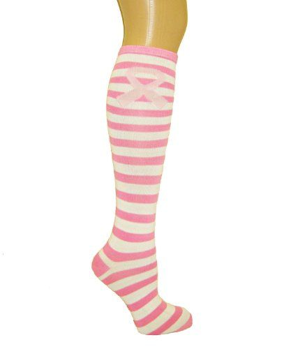 Pink Ribbon Breast Cancer Awareness Knee High Socks Great for Sports Teams Fundraising Relay for Life Walk Survivor (Style... $3.95