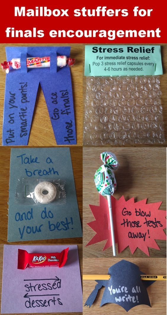 Mailbox stuffers to encourage residents during finals week or midterms or just whenever!  I need to do this for my floor.