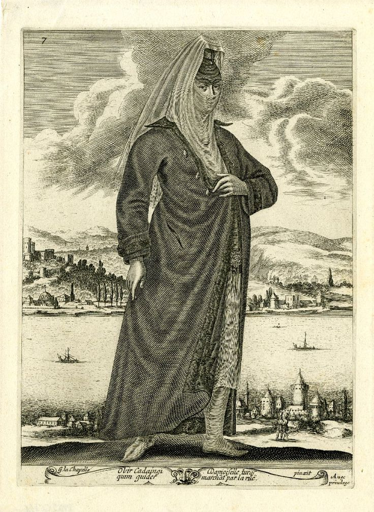 Turkish woman, walking to the right, wearing veil hiding her face and long, dark coat over skirt embroidered with flowers; coastal landscape in the background; after La Chapelle. c.1648 Etching and engraving