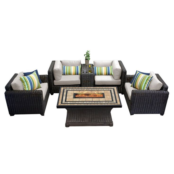 Outdoor TK Classics Venice Wicker 6 Piece Patio Conversation Set with Fire Pit Table and 2 Sets of Cushion Covers Beige / Wheat - VENICE-06C-BEIGE