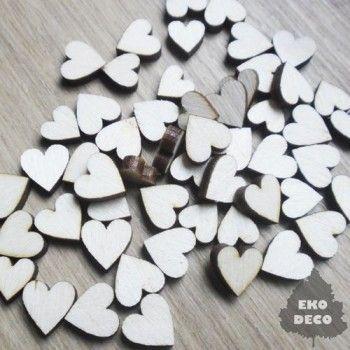 Małe serduszka z drewna  SD04 - 20 szt