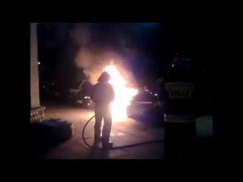 Burned out Jeep Warsaw street corner Szaserów Kordeckiego September 4, 2...