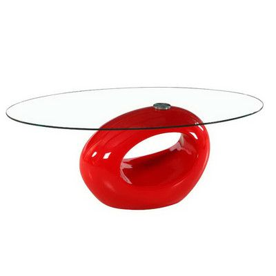Fab Glass and Mirror Oval Glass Coffee Table Base Finish: