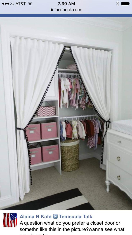 Closet curtains for kids - Cape 27 Pom Pom Trim For Girls Closet Curtain