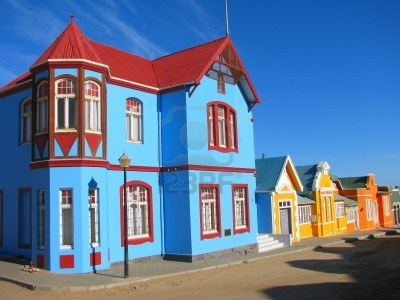 Multicoloured houses in Nachtigal Strasse, Luderitz, Namibia Stock Photo  Luderitz: Because I am too fascinated by how Germans lived in the desert and a coast!