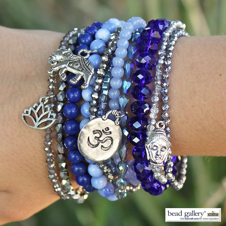 DIY Blue Jeans Bracelets made with Bead Gallery beads and charms available at @michaelsstores #madewithmichaels
