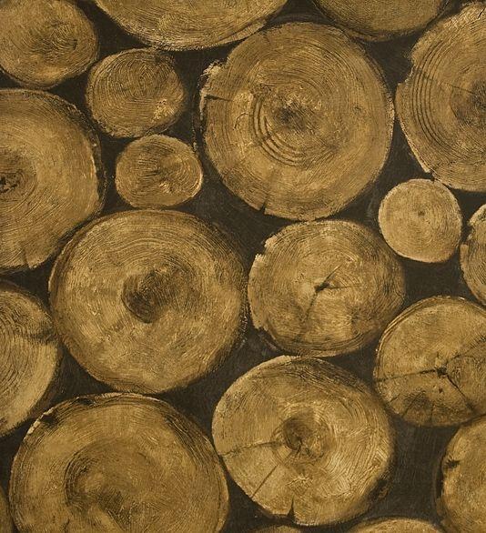 Lumberjack Wallpaper Chopped Timber Log Pile Effect