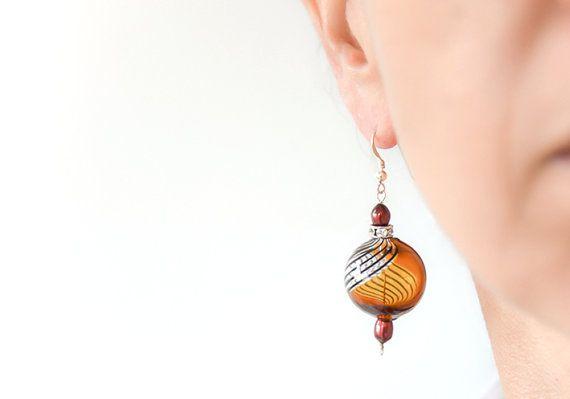 Blown glass earrings Murano glass earrings Silver by BeadABoo