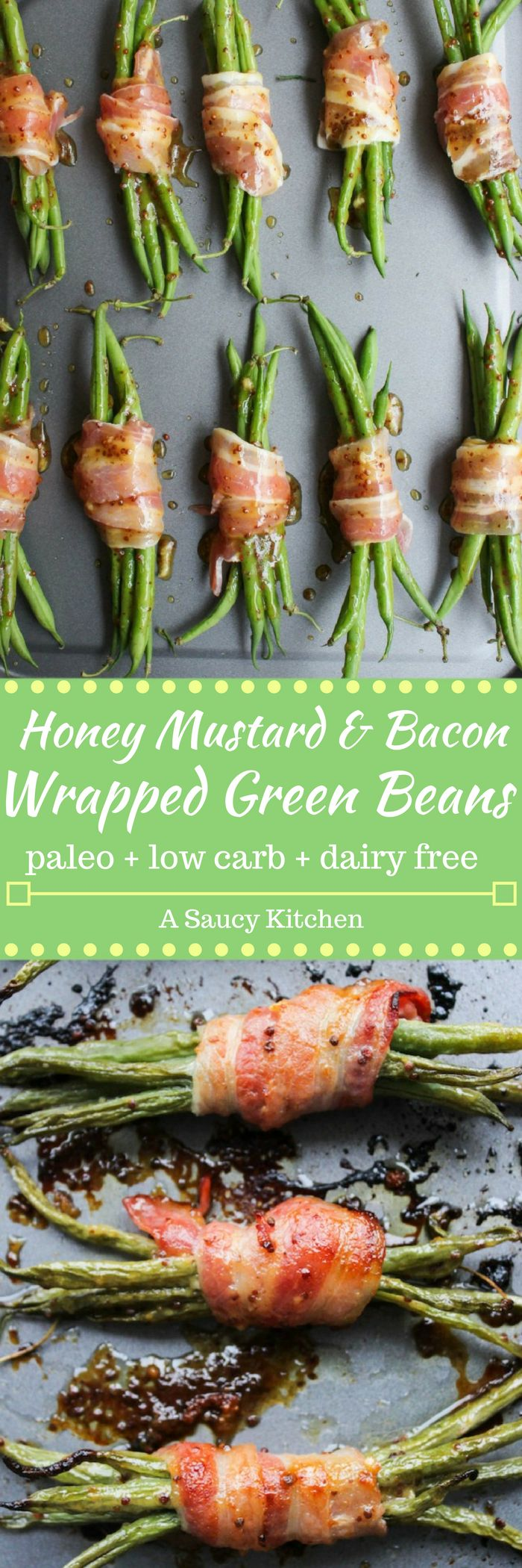 Honey Mustard Bacon Wrapped Green Beans | tender green bean bundles covered in a honey mustard sauce wrapped in bacon | paleo + low carb