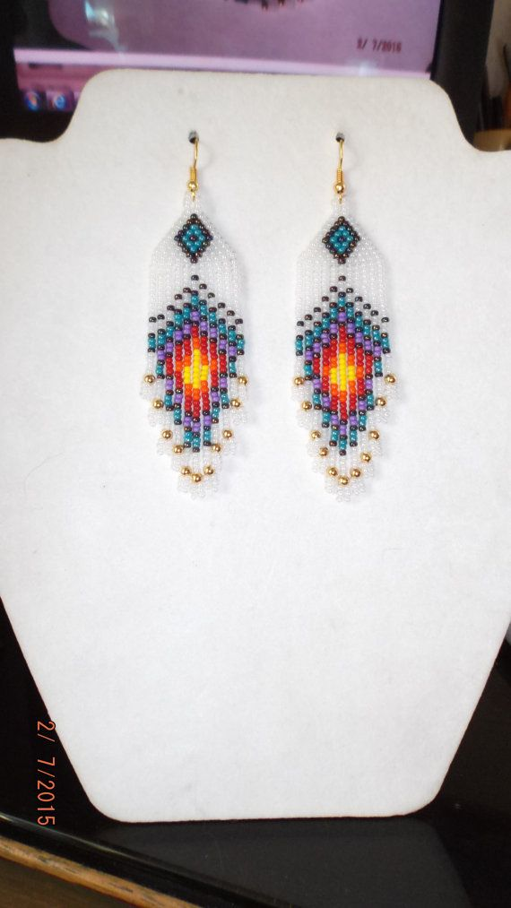 Native American Style Beaded Peacock Eye Earrings Frost Gold, Turquoise, Purple, Red Orange, Yellow, Southwestern GREAT Gift Ready to Ship