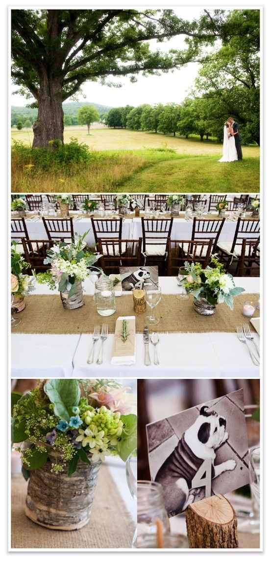 white table cloths with burlap runners by Aishe