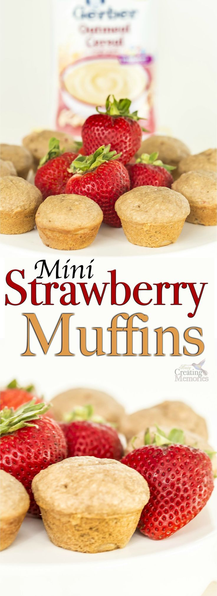 Discover the secret to extra moist Mini Strawberry Muffins! These mini muffins are perfectly proportioned to be kid friendly finger foods for easy snacking.  And how to have extra moist muffins by using a secret ingredient, left-over Gerber baby Food! ‪#‎CookingWithGerber‬ (AD)