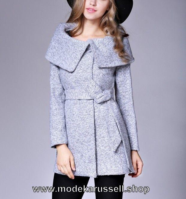 Damen Strickjacke Cardigan aus Wolle Silber