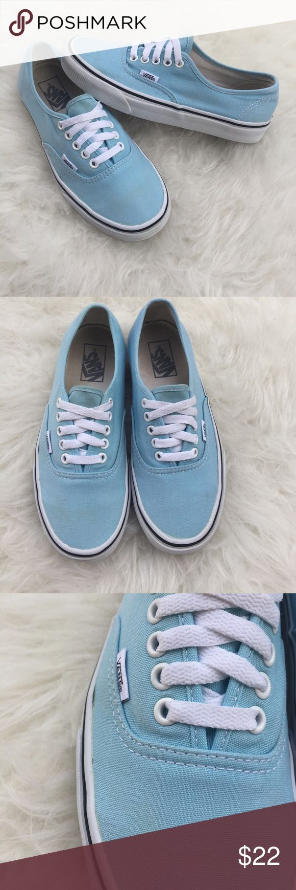 Light blue vans. Blue vans. Women's blue vans. van Good used condition women's size 8 blue Vans. Light wear, some dirt spots on the canvas. Overall good condition. Please review photos for details. No trades. Vans Shoes Sneakers