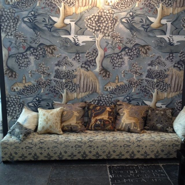Melissa White for Zoffany: lead blue Verdure wallpaper based on a late seventeenth century painted cloth