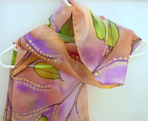 Hand Painted Silk Scarf Australian Wattle 62 x by SallyAnnesSilks