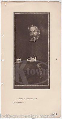 CHARLES PARKHURST CLERGYMAN TAMMANY HALL CORRUPTION ANTIQUE GRAPHIC PRINT 1906