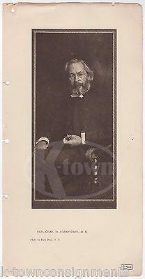 CHARLES PARKHURST CLERGYMAN TAMMANY HALL CORRUPTION ANTIQUE GRAPHIC PRINT 1906