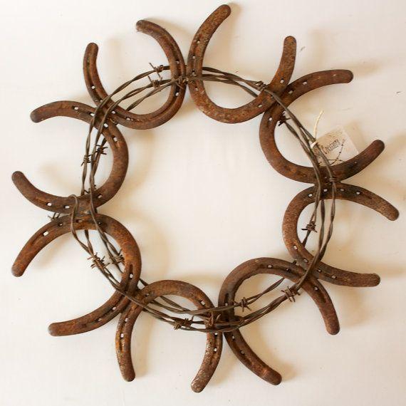 horseshoe crafts   Horse Shoe Wreath country horse western by ...   horseshoe crafts