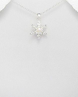 Pandantiv fulg de nea din argint cu perla de cultura 17-1-i4915