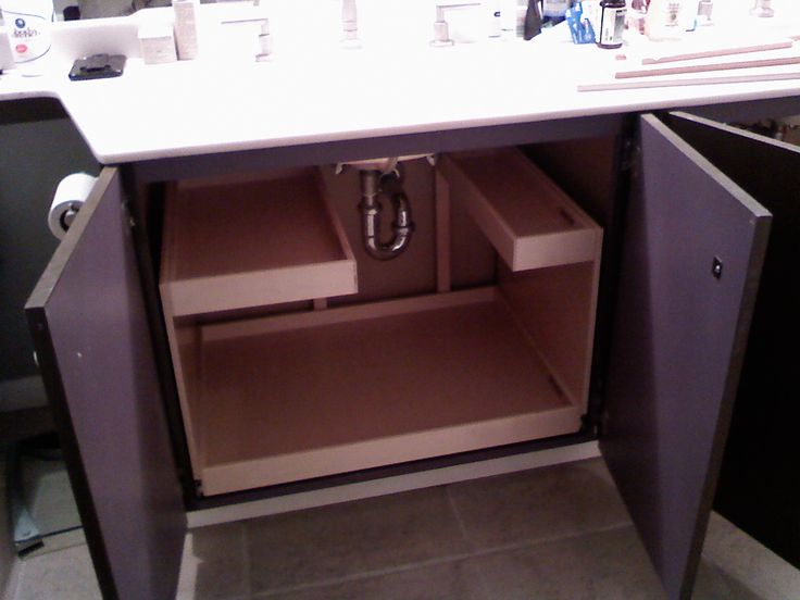 Bathroom Cabinet Idea Sliding Shelves With Risers