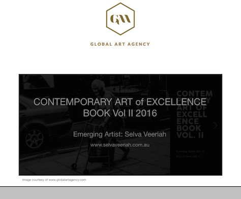 """Selva Veeriah featured as one of the emerging artists in the """"CONTEMPORARY ART of EXCELLENCE - BOOK Vol. II"""" published by the Global Art Agency ('GAA')."""