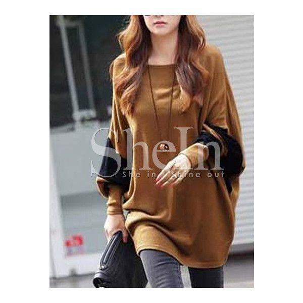 Khaki Color Block Batwing Sleeve Loose T-Shirt (51 PLN) via Polyvore featuring tops, t-shirts, color block t shirt, brown tops, brown t shirt, colorblock top and loose tee