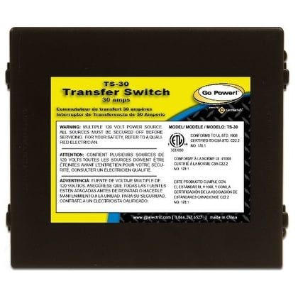 Go Power! Ts-30 30 Amp Automatic Transfer Switch - Black