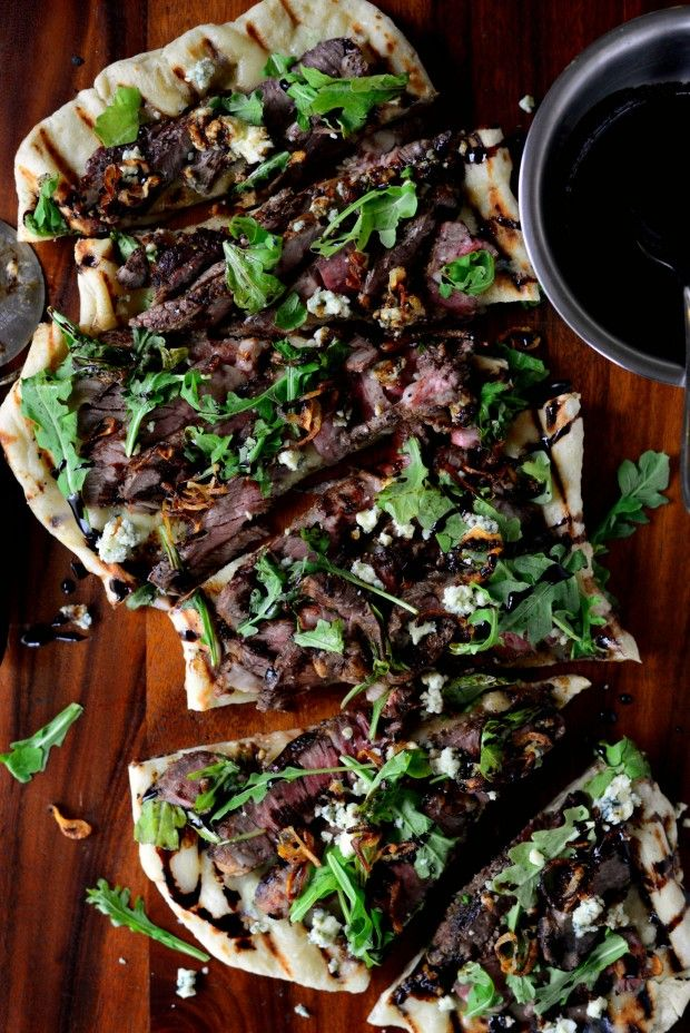 Steak & Blue Cheese Pizza with crispy fried shallots and honey balsamic drizzle l SimplyScratch.com