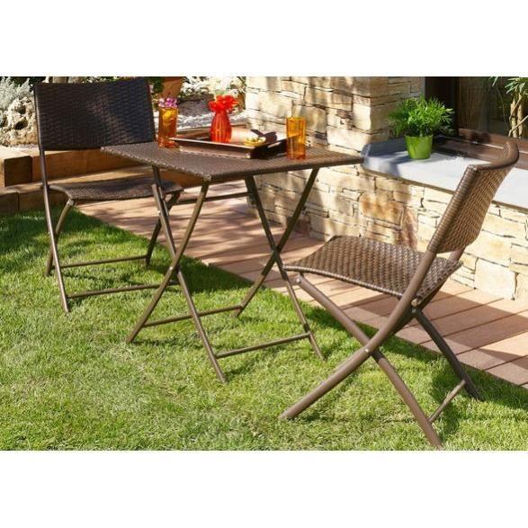 ensemble de jardin table avec 2 chaises chocola achat vente salon - Salon De Jardin Mtal Color