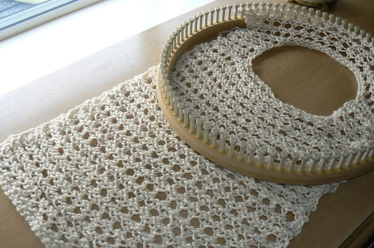loom knit sweater patterns | shows the Daisy Chain Sweater on the 35 peg CinDwood newborn hat loom ...