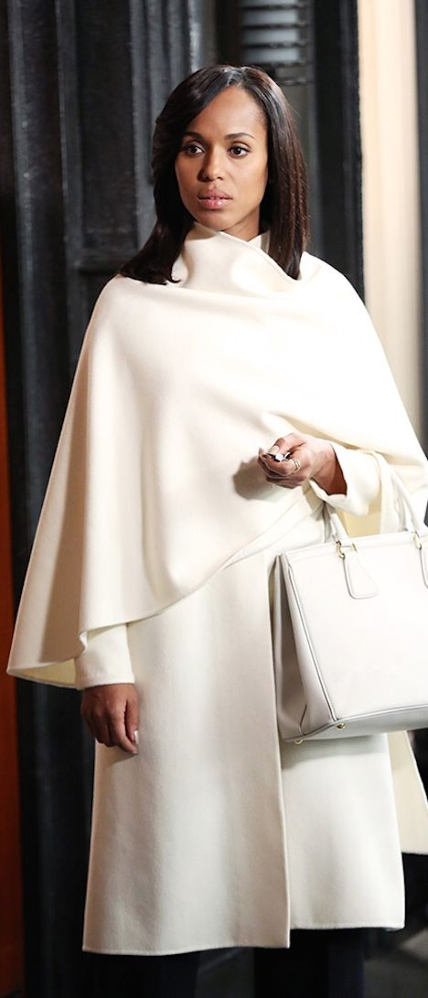 Kerry Washington as Olivia Pope makes a style statement in white on Scandal in the Marielle Collection coat