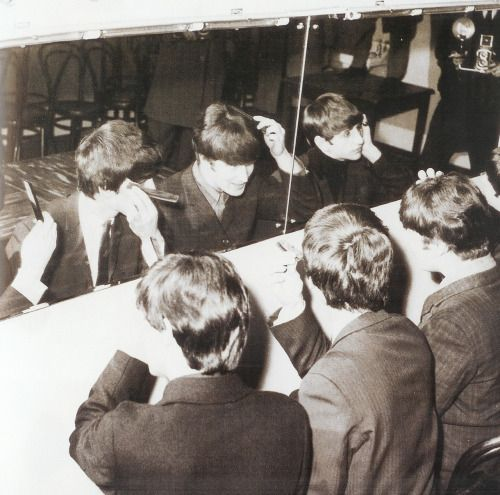 10th October 1964. The Beatles in their dressing room preparing for that evening's show at the De Montfort Hall in Leicester.