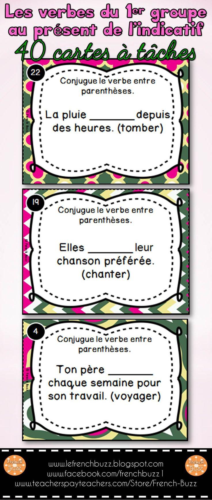 """Les verbes du premier groupe (en """"er"""") - 40 cartes à tâches pour pratiquer la conjugaison des verbes en """"er"""" au présent de l'indicatif."""